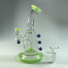 Wholesale Coned Stock - In Stock 2017 New Fluorescent Green Glass Bong with Cone Piece Inline Percolato Smoking Bubbler Recycler Oil Rigs 100% Real Image