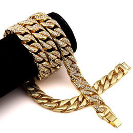 Wholesale 14k Cuban Link Gold Chain - Wholesale- Hip Hop Bling Fully Iced Out Men's Electroplated Miami Cuban Link Chain Gold Necklace Simulated Gemstone Hipster Jewelry