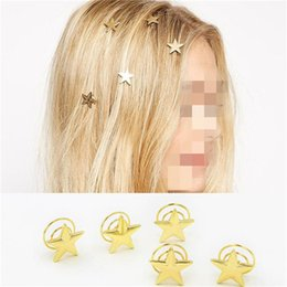 Wholesale Alexandrite Stones - 5Pcs Lot Girls Hair Accessories Star Heart Stone Pearl Little Spiral Hair Clips Hairpins 2H2016