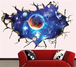 Wholesale Decals For Boys - stickers for kids Galaxy Planet Space Sticker For Kids Boys Bedroom Art Vinyl 3D Wall Decal Peel and Stick
