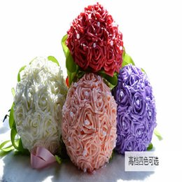 Wholesale Cheap Bridal Party Bouquets - High Quality Artificial Flowers Wedding Bouquet Pearls Beaded Red Pink For Bridal Mariage Party Church Garden Bridal Bouquets Cheap Sale