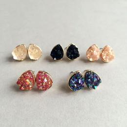 Wholesale Drop Stone Earring - Fashion Drusy Druzy Earrings Gold Plating Popular Water Drop Gemstone Stone Stud Earrings For Women LadyJewelry