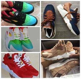 Wholesale Id 46 - Air Huarache Ultra ID Running Shoes For Men Women,Mens Red Rose Gold Rainbow Navy Blue Tan Denim Huaraches Sport Huraches Sneakers 36-46