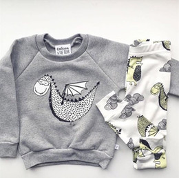 Wholesale Baby Dragons - 2016 INS Baby Autumn Outfits Baby Boy Clothing Sets Baby Boy Clothes Cotton little Dragon Long Sleeve T-shirt Pants Infant Clothes