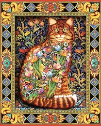 Wholesale Picture Canvas Sizes - Flower Cat 100%Area DIY 5D Crystal Painting Cross Stitch Diamond Drawing Home Decor Size 40X50cm