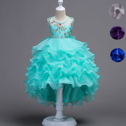 Wholesale Junior High Pageant Dresses - Short Front Long Back High Low Lace Flower Girls Dress Ruffles Junior Kids Tailing Party Pageant Gowns Children Clothes