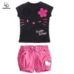 Wholesale Boys Clothing Sets Retail - Wholesale- Retail 2017 children girls clothing set Summer hello kitty cute pajamas costume baby kids child cartoon clothes sets suits