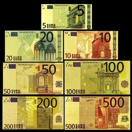 Wholesale Double Foil - 7Pcs Lot Euro 24K Gold Foil Banknotes Bills Double Currency Souvenir Gifts Collection Home Holiday Decoration Crafts Art Collectible