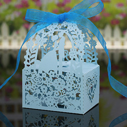 Wholesale Laser Cut Boxes Designs - 50pcs lot free shipping Laser Cut Bride Groom Flowers Design Wedding Candy boxes Paper Sweet Holder Gift Boxes Home Party Favors Decoration