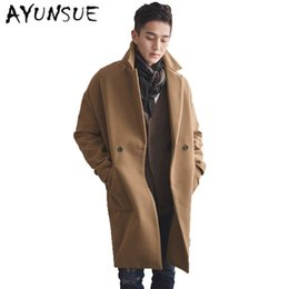 Wholesale Trench Down - Wholesale- Camel Mens Coat Double Breasted Mens Coats Overcoats Turn-Down Collar Medium Long Men's Winter Jacket Trench Coat Men WUJ1171