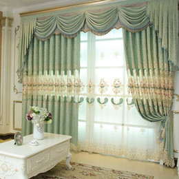 Wholesale New Curtains Designs - New Arrival Chenille Western Curtain Jacquard Weave Window Shades Living Room Bedroom Light Green Hollow Design Embroidery Curtains #Cloth