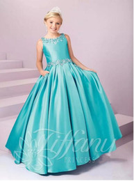 Robes chaudes adolescents en Ligne-Ventes chaudes Filles Pageant Enfant Robes De Cérémonie Cristaux Perlés Princesse Étage Longueur Robe De Mariage Dentelles Up Flower Girl 's Dress Teens Wear