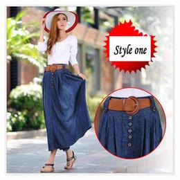Wholesale Long Maxi Skirt Elastic Waist - Wholesale -3XL Big Size Long Jean Skirts Womens denim skirts Girls Bohemia Pleated jupe blue saia longa Female maxi skirt Elastic waist