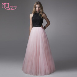 Wholesale Cheap Ladies Formal Dresses - Chicing Light Pink Prom Dresses Cheap Black Top Jewel Neck Ruched Tulle Skirt Long Ladies Formal Evening Gowns Custom Sexy 2017