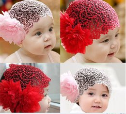 Wholesale Baby Shooting - hair clips accessories wholesale headbands for babies girls Children two large flower buds headband headdress Meng Po shoot portrait hair wi