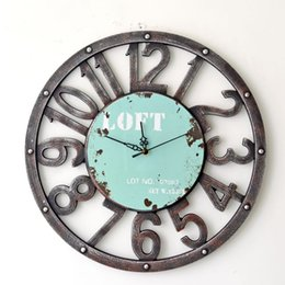 Wholesale Oversized Art - Wholesale-Fashion Oversized 3D retro rustic decorative luxury art big gear wooden vintage large wall clock on the wall for giftBGZ-006