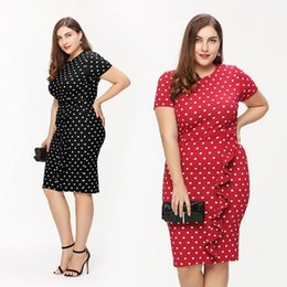 Wholesale Shor Dresses - 2017 Summer Polka Dot Women Plus Size Dresses O-Neck Shor Sleeve Pencil Dresses For Women Free Shipping