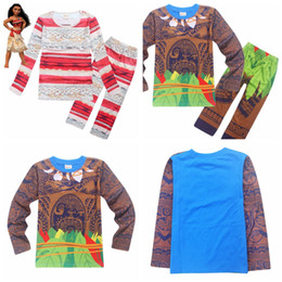 Wholesale Christmas Sets Kid Suits - 2017 Baby Boys Girls Autumn Moana Maui Clothing Sets Toddler Kids Children Long Sleeve Anime Printed Pajamas Clothes Suits