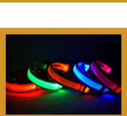 Wholesale Mardi Gras Necklaces - Free DHL LED Light Flashing dog pet collar Outdoor Luminous Night Safety Nylon Colorful necklace Leash Glow in the Dark battery version