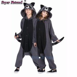 Wholesale Couple Onesies For Adults - raccoon onesie HKSNG Fleece Grey Raccoon Animal Pajamas Kiguruma Gray Racoon Cosplay Costume Onesies For Adult Couples Halloween Pijamas