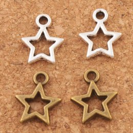 Wholesale Open Star Spacer Charm Beads Pendants Antique Silver Bronze Alloy Handmade Jewelry DIY L138 x12mm