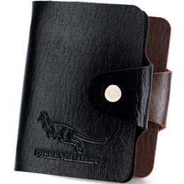 Wholesale Business Display Cases - Fashion Black Leather Credit Card Holder Wallet Bag Business Card Slots Organizer Case Pocket Box For Display Business ID Retro Men Pouch