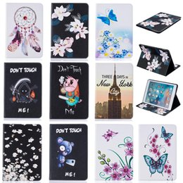 Wholesale Money Wallet China - Tablet case For iPad Pro 9.7 inch Cover Wallet Stand Leather Case With Card Slot Money Pocket Painting Butterfly Blue Bear tower