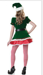 Wholesale Christmas Costumes Santa Dresses - 2016New Sexy Elf Little Helper Christmas Santa Mrs Claus Fancy Dress Costume Xmas Outfit Cosplay with hat belt one size S-L