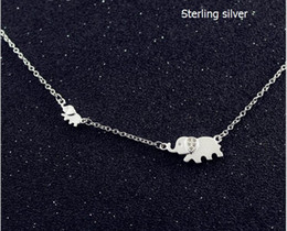 Wholesale Bone Inlay - Women Pendant Necklaces 925 Solid Sterling Silver Inlay Zircon Mascot Big and Small Elephant Collar bone chain Chokers 1 pc