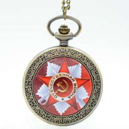 Wholesale Russia Dress - Wholesale-Vintage USSR Emblem Russia Soviet Sickle Hammer Quartz Pocket Watch Analog Pendant Necklace Mens Womens Watches Gifts