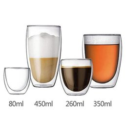 Wholesale Beer Mug Gifts - Handmade Heat Resistant Double Wall Glass Tea Drink Cup Insulated Clear Glass Beer Mugs Drinkware Gift 80 250 350 450 650ml CCA6954 50pcs