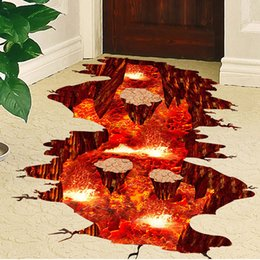 Wholesale Modern Rocks - Hot 3D wall sticker volcano rock-magma waterproof floor sticker creative wall paper for room living home kindergarten decoration