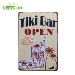 "Wholesale Tiki Bar Open Signs - Wholesale- Wholesale Tiki Bar Open Vintage Home Decor Tin Sign 8""x12"" Retro Pub Bar Garage Wall Decor Metal Sign Decorative Metal Plate"