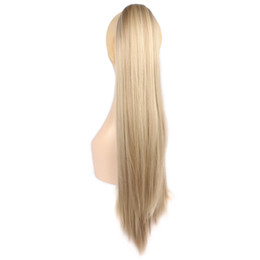 Wholesale Dark Auburn Long Hair Extensions - Wholesale-24inch Long Synthetic Ponytail Fake Hair Extensions False Hair Pony Tail Horse Tress Natural Claw Ponytail