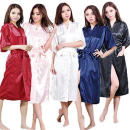 Wholesale Satin Dress Chinese - Wholesale- Ladies Satin Robe Dressing Gown Nightwear Kimono Lingerie Silk Vintage Chinese Women Traditional Gown Nightgown Plus Size S-XXXL