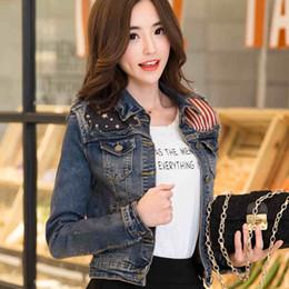 Wholesale Women Jean Coat - Wholesale- 2016 Spring Autumn Plus size Vintage Women Long Sleeve Coat Korean American flag Denim Short Casual Jean Jacket Outerwear 730