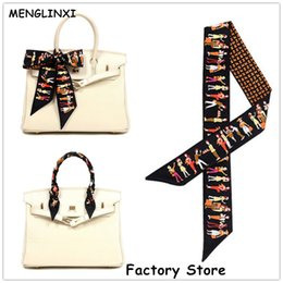 Wholesale Red Silk Small Scarves - Wholesale- MENGLINXI Bag Twilly 2017 Brand Letter Small Silk Scarf For Women Paris Holiday Print Headband Handle Bag Ribbon Long Scarves