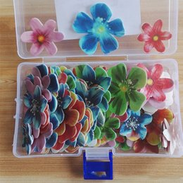 Wholesale Wholesale Food Papers - Birthday Food Cake Decorations Edible Sticky Rice Paper Butterfly Flowers Cake Topper Beautiful Birthday Cake Topper -- 128 Pieces Box