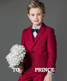 Wholesale Boys First Communion Suit - WHITE BOY FIRST COMMUNION SLIM FIT WEDDING PARTY FORMAL ROSE RED SUITS CUSTOM 3 Piece (jacket + vest + pants) custom made