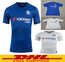 Wholesale Wholesale Chelsea Soccer Jerseys - DHL Free shipping 17 18 TOP Quality Chelsea Soccer Jersey 2017 2018 HAZARD DIEGO COSTA MORATA Football Shirts Size can be mixed batch