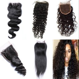 Wholesale Cheap Virgin Closures - Cheap Lace Closure Water Wave Mongolian Human Hair Wet and Wavy Virgin Hair Lace Closure with Bleached Knots BW LW St DW FDSHINE