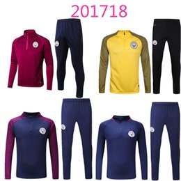 Wholesale Men S Training Pants - new 2017 2018 Thai quality Kun Aguero survetement football tracksuits training suits 16 17 man city soccer jacket Long pants sports wear