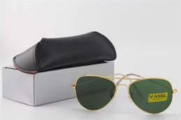 Wholesale Sunglasses Box Gold - 10pcs Free Shipping High Quality Mens Womans Glasses Gold Frame Green Lens Sunglasses Designer Sport Sunglasses For box And Case