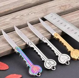 Wholesale Keychain Tool Knife - MIni Stainless Key Knife OK Folding Pocket Keychain Ring Outdoor Camping Survival Knife EDC Tool