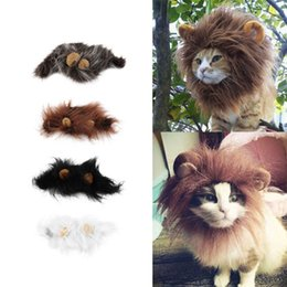 Wholesale Dog Ears Costume - Pet Cat Dog Emulation Lion Hair Mane Ears Head Cap Autumn Winter Dress Up Costume Muffler Scarf Free Shipping ZA2394