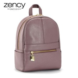 Wholesale 4Cls Classic Fashion Genuine Leather Backpack Women Bags Preppy Style Knapsack Girls School Book Zipper Shoulder Women Back Pack