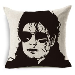 Wholesale Michael Jackson Pillowcase - Michael Jackson Dancing Cushion Cover 45*45cm Pillowcase for Bed Seat Sofa Chair Living Room Home Decorative Linen Pillow Case