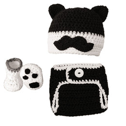 Schnurrbart bedeckt online-Neugeborenen Schnurrbart Katze Kostüm, handgefertigt häkeln Baby Boy Girl Schnurrbart Katze Hut Windel Cover Booties Set, Infant Halloween Kostüm Foto Requisiten