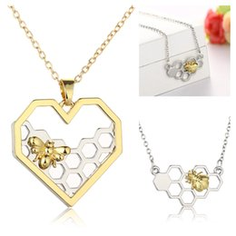 Wholesale Gold Bee Necklace - 2017 Women Bee Necklace Heart Gold Silver Color Honeycomb Bee Animal Hollow heart Pendant 45cm Jewelry Party Prom Gift