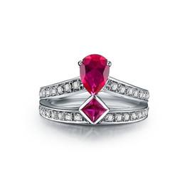 Deutschland Eleganter 1Ct synthetischer Rubin Ehering für Frauen Solider 925 Sterling Silber Ring Brilliant Forever Jewelry Versorgung